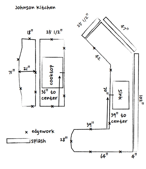 Sketch of countertops for an estimate